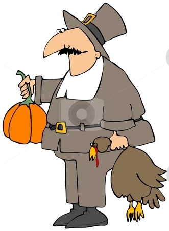 Goofy Pilgrim stock photo, This illustration depicts a cross-eyed Pilgrim carrying a turkey and pumpkin. by Dennis Cox