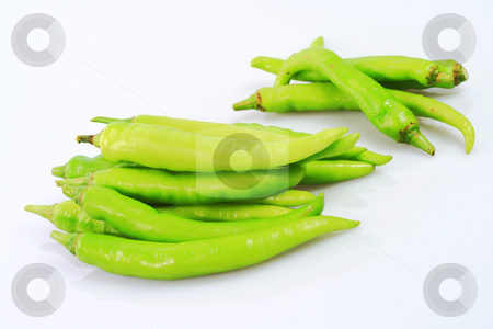 Green pepper stock photo, A bunch of green  pepper isolated on white background by Jonas Marcos San Luis