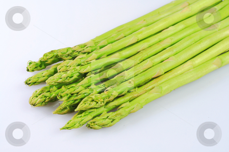 Asparagus stock photo, Bunch of asparagus spears isolated in white background by Jonas Marcos San Luis