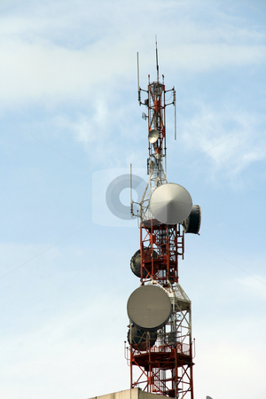 Communication tower stock photo, Communication tower on a bright sunny day by Jonas Marcos San Luis
