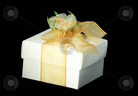Gift box over black stock photo, Beautifully decorated gift box isolated over black by Natalia Macheda