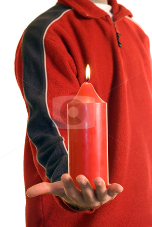 Red Candle stock photo, A man wearing red, holding a candle by Richard Nelson