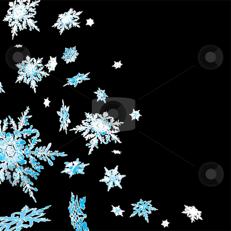 Snowflake cascade stock photo, Winter scene with a blue and white snowflake design by Michael Travers