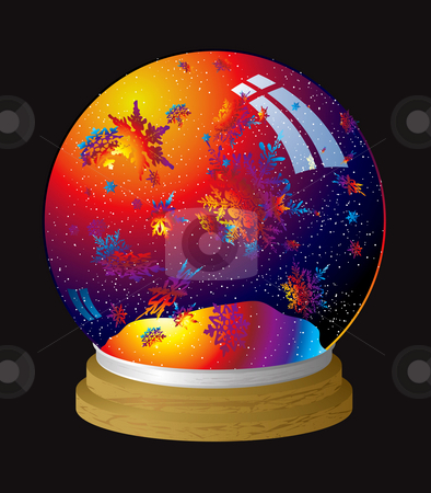 Rainbow snowglobe stock photo, Multi coloured snow globe with flakes of rainbow dust by Michael Travers
