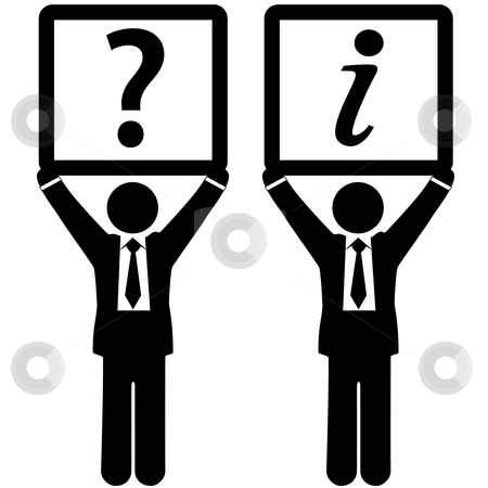 Business man with question answer information symbols stock vector clipart, Business people hold up two sign icons: Question Mark and Information symbols. by Michael Brown