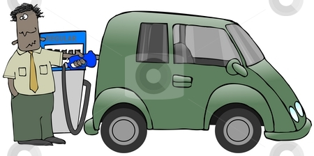 Gassing The Minivan stock photo, This illustration depicts a man putting gasoline into his minivan. by Dennis Cox