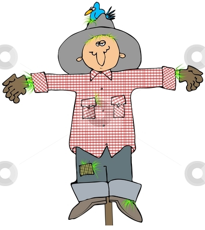 Scarecrow stock photo, This illustration depicts a scarecrow with a bird nesting in its hat. by Dennis Cox
