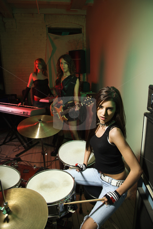 Girl band. stock photo, Caucasian girl band with their instruments. by Iofoto Images