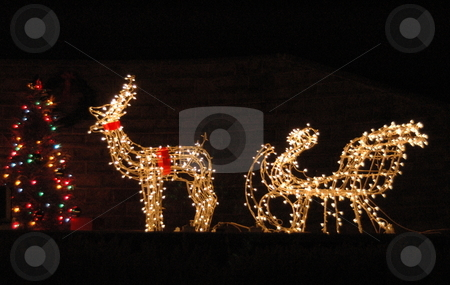 Christmas yard decoration stock photo, A yard Christmas decoration of a reindeer and sleigh are lit for night viewing. by Janie Mertz