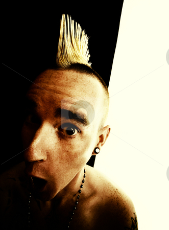 Man with a Mohawk stock photo, Surprised shirtless man with a Mohawk hair style by Scott Griessel