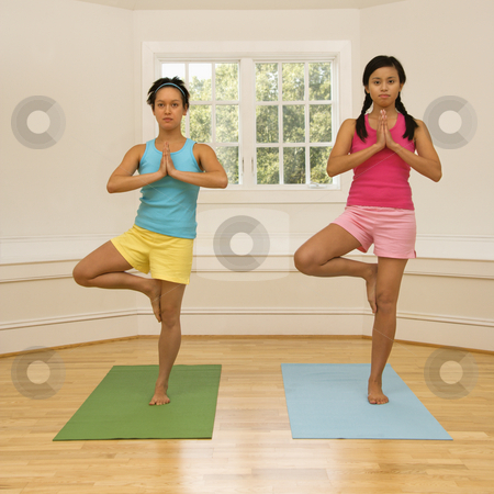 Yoga fitness women stock photo, Two young women balancing doing yoga tree pose. by Iofoto Images