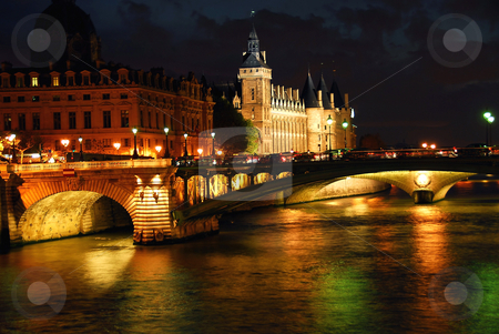 Nighttime Paris stock photo, Bridges over Seine and Conciege in nighttime Paris France by Elena Elisseeva