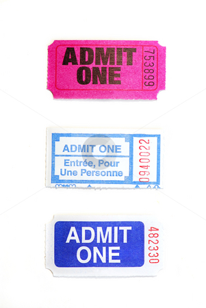 Raffle tickets stock photo, Three raffle tickets close up isolated on white background by Elena Elisseeva