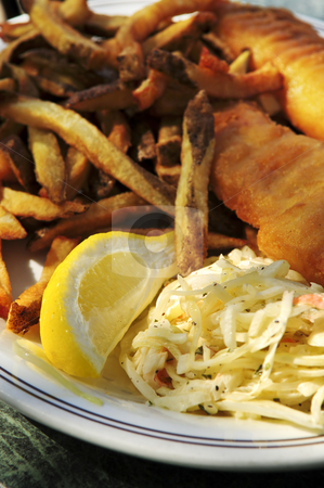 Fish and chips stock photo, Fish and chips on a plate with coleslaw by Elena Elisseeva