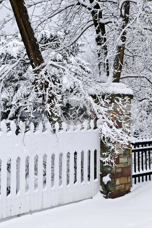 Winter park stock photo, Fence in winter park covered with fresh snow by Elena Elisseeva