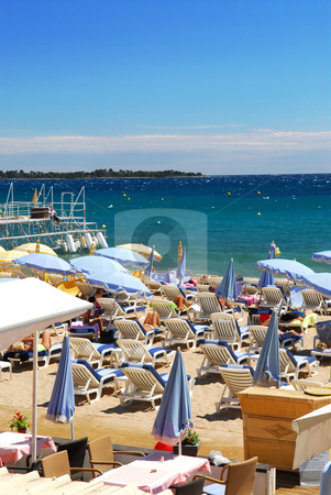 Beach in Cannes, France stock photo, Beach along Croisette promenade in Cannes, France by Elena Elisseeva