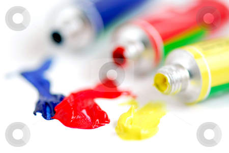 Primary colors paint stock photo, Macro of paint tubes of primary colors by Elena Elisseeva