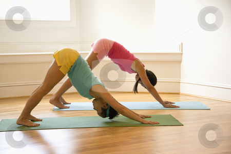 Women doing fitness stock photo, Two young women on yoga mats doing downward facing dog pose. by Iofoto Images