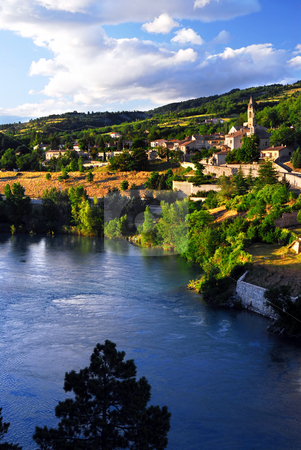 Town of Sisteron in Provence France stock photo, Scenic view on town of Sisteron in Provence France by Elena Elisseeva