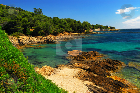 Mediterranean coast of French Riviera stock photo, Scenic view of Mediterranean coast of French Riviera by Elena Elisseeva