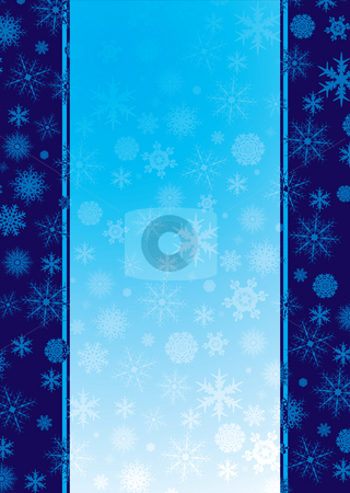 Christmas flaked band stock photo, Christmas inspired background in blue with snow flakes by Michael Travers