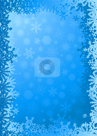 Flaked border stock photo, Cyan and white christmas background with copy space by Michael Travers