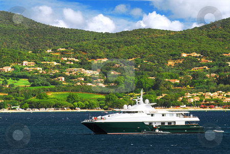 Luxury yacht at the coast of French Riviera stock photo, Luxury yacht at the mediterranean coast of French Riviera by Elena Elisseeva