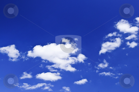 Blue sky with white clouds stock photo, Background of blue sky with white clouds by Elena Elisseeva