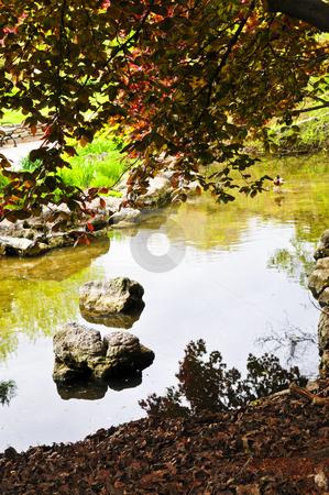 Pond in zen garden stock photo, Pond with natural stones in japanese zen garden by Elena Elisseeva