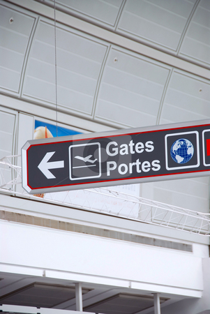 Airport sign stock photo, Gates sign in international airport by Elena Elisseeva