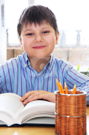School boy studying stock photo, Happy school boy studying with a book by Elena Elisseeva