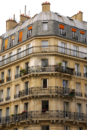 Paris building stock photo, Old apartment buildings with wrought iron balconies in Paris France by Elena Elisseeva