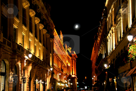 City of Light stock photo, Illuminated street in Paris France with bright moon by Elena Elisseeva