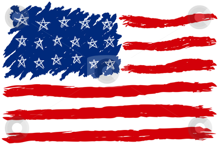 Hand Drawn American Flag stock vector clipart, Hand Drawn American Flag by Adrian Sawvel