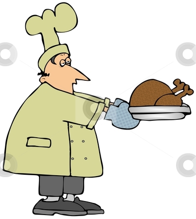 Sleepy Chef Holding A Turkey stock photo, This illustration depicts a sleeping looking chef holding a cooked turkey on a platter. by Dennis Cox