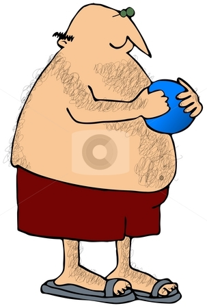 Hairy Man Holding A Beach Ball stock photo, This illustration depicts a hairy man in swim trunks holding a beach ball. by Dennis Cox