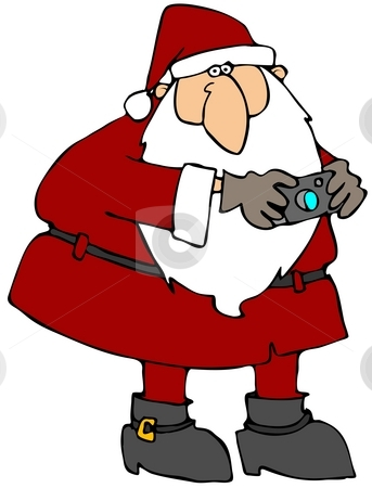 Santa With A Camera stock photo, This illustration depicts Santa Claus holding a digital camera. by Dennis Cox