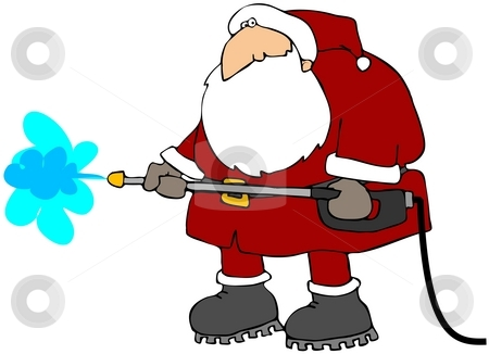 Cleaning Santa stock photo, This illustration depicts Santa Claus using a pressure washer. by Dennis Cox