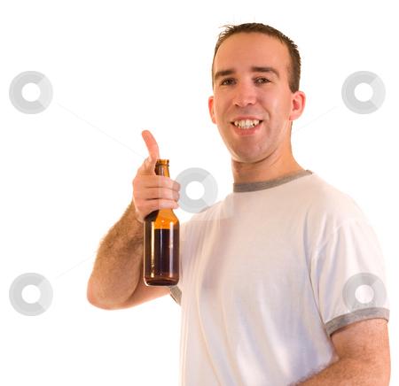 Happy Drinker stock photo, A happy man driniking a bottle of beer by Richard Nelson
