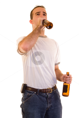 Man Drinking Beer stock photo, A young man drinking some beer, isolated against a white background by Richard Nelson