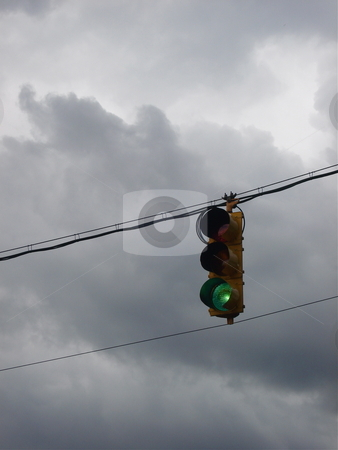 Stop Light Against Cloudy Colorado Sky
