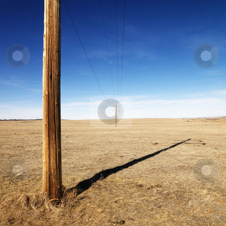 Power line. stock photo, Power line against blue sky. by Iofoto Images