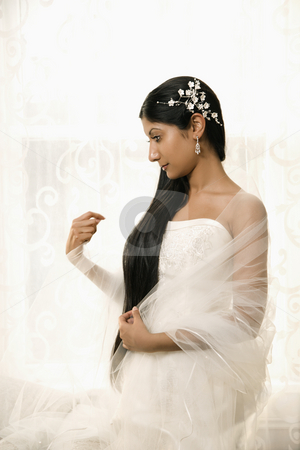 Bridal portrait. stock photo, Portrait of an Indian bride. by Iofoto Images