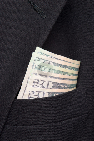 Money in a business suit pocket stock photo, Money in a business suit pocket by Vince Clements