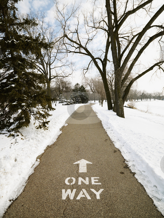 Trail in park. stock photo, Paved path in park reading one way. by Iofoto Images