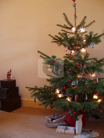 Christmas tree stock photo, Traditional decorated Christmas tree with presents underneath by Stephen Gibson