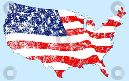 United States Map with Flag and Grunge stock vector clipart, United States Map with Flag and Grunge by Adrian Sawvel