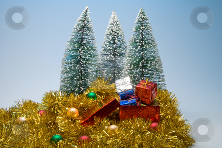 Christmas Presents stock photo, Several Christmas presents in festive holiday boxes. by Robert Byron