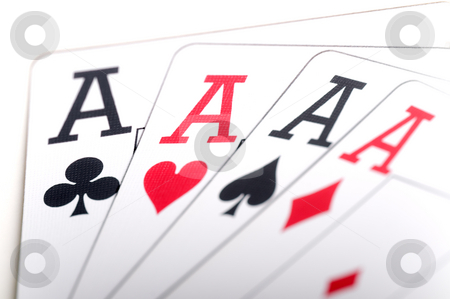Macro of playing cards stock photo, Macro of playing cards showing 4 aces by Vince Clements