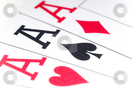 Macro of playing cards stock photo, Macro of playing cards showing 3 aces by Vince Clements
